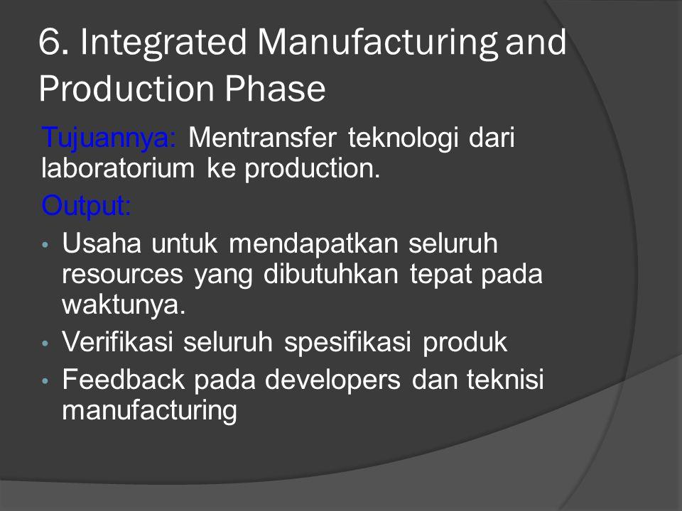 6. Integrated Manufacturing and Production Phase Tujuannya: Mentransfer teknologi dari laboratorium ke production. Output: Usaha untuk mendapatkan sel