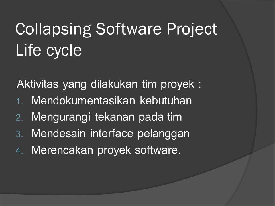 Aktivitas yang dilakukan tim proyek : 1.Mendokumentasikan kebutuhan 2.