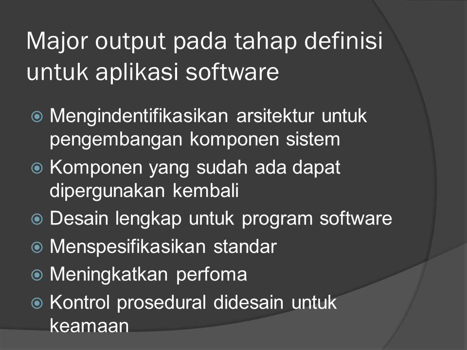 Major output pada tahap definisi untuk aplikasi software  Mengindentifikasikan arsitektur untuk pengembangan komponen sistem  Komponen yang sudah ada dapat dipergunakan kembali  Desain lengkap untuk program software  Menspesifikasikan standar  Meningkatkan perfoma  Kontrol prosedural didesain untuk keamaan