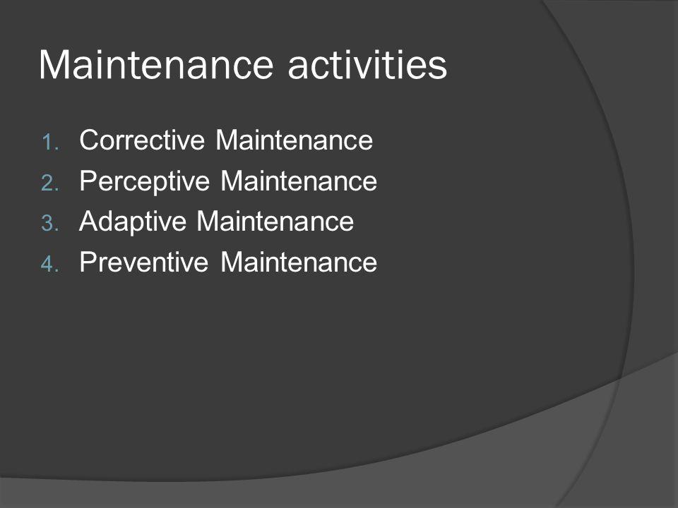 Maintenance activities 1.Corrective Maintenance 2.