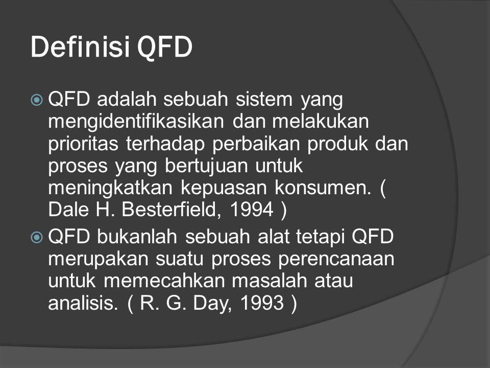 Sejarah QFD  QFD dimulai 30 tahun lalu di Jepang dilatarbelakangi oleh adanya keinginan tentang suatu sistem kualitas yang memfokuskan diri pada produk dan pelayanan yang dapat memuaskan konsumen, dengan mendengarkan voice of customer untuk pengembangan proses dan produk tersebut.