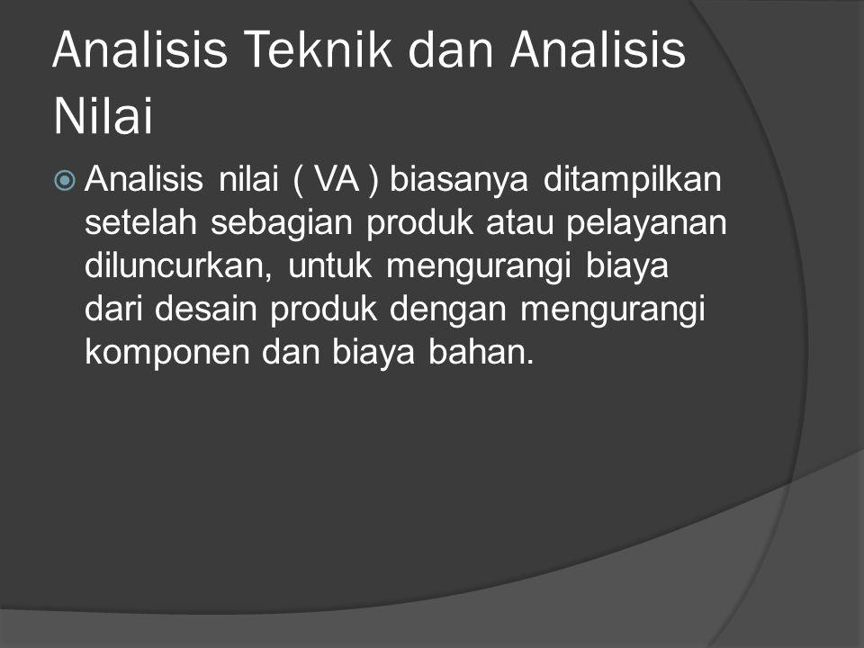 Analisis Teknik dan Analisis Nilai  Analisis nilai ( VA ) biasanya ditampilkan setelah sebagian produk atau pelayanan diluncurkan, untuk mengurangi biaya dari desain produk dengan mengurangi komponen dan biaya bahan.