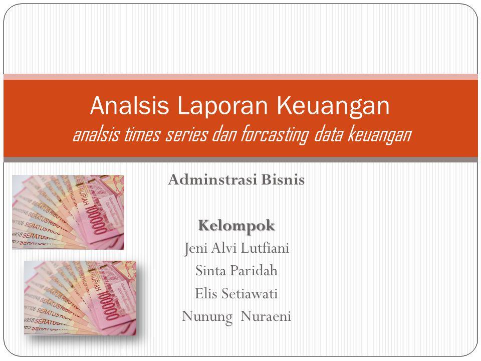 Adminstrasi BisnisKelompok Jeni Alvi Lutfiani Sinta Paridah Elis Setiawati Nunung Nuraeni Analsis Laporan Keuangan analsis times series dan forcasting data keuangan
