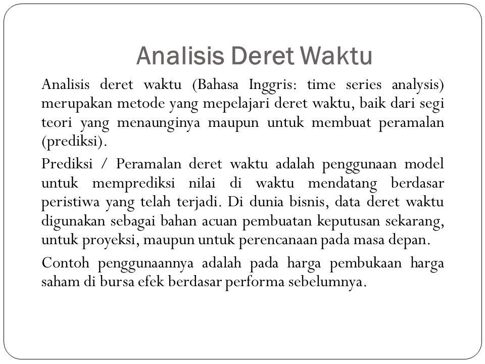 Analisis Deret Waktu Analisis deret waktu (Bahasa Inggris: time series analysis) merupakan metode yang mepelajari deret waktu, baik dari segi teori yang menaunginya maupun untuk membuat peramalan (prediksi).