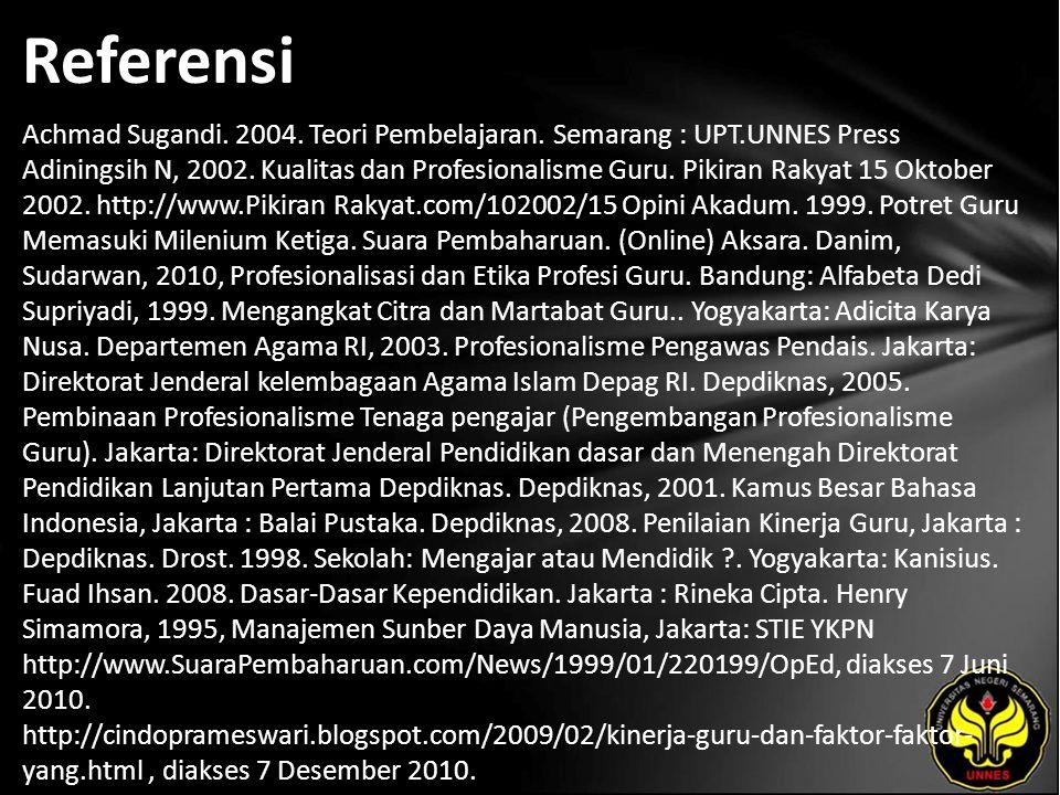 Referensi Achmad Sugandi. 2004. Teori Pembelajaran. Semarang : UPT.UNNES Press Adiningsih N, 2002. Kualitas dan Profesionalisme Guru. Pikiran Rakyat 1
