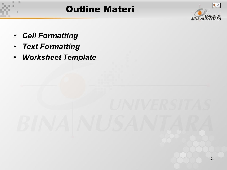 3 Outline Materi Cell Formatting Text Formatting Worksheet Template