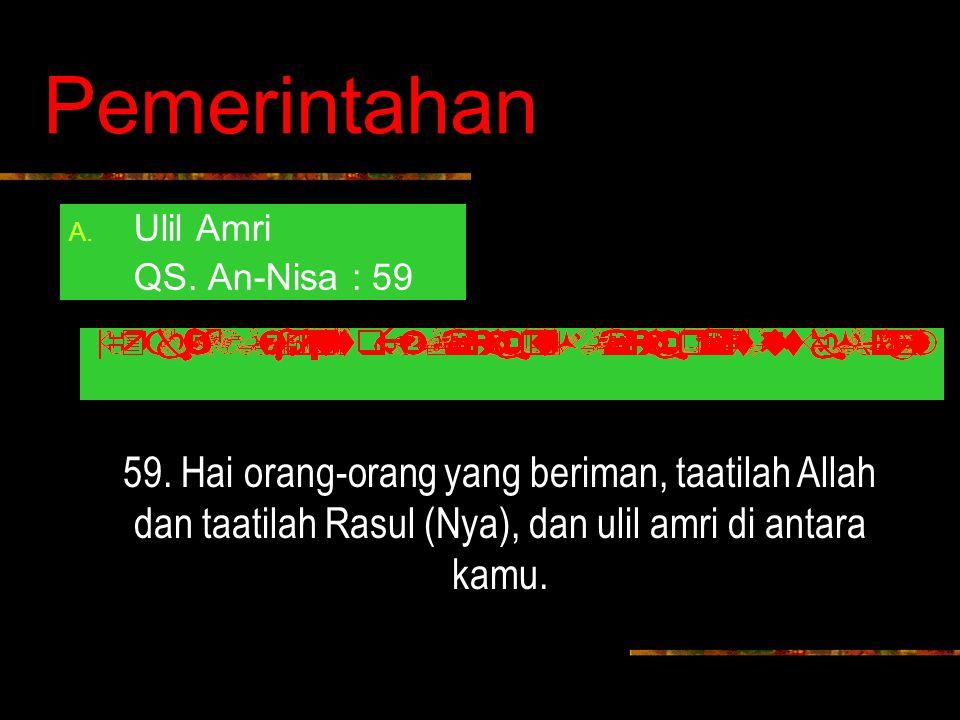 Pemerintahan A.Ulil Amri QS. An-Nisa : 59 59.
