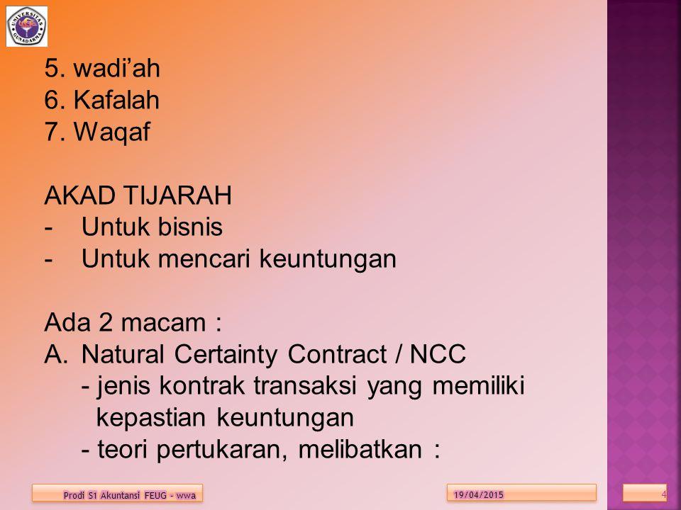 4 4 5. wadi'ah 6. Kafalah 7. Waqaf AKAD TIJARAH -Untuk bisnis -Untuk mencari keuntungan Ada 2 macam : A.Natural Certainty Contract / NCC - jenis kontr