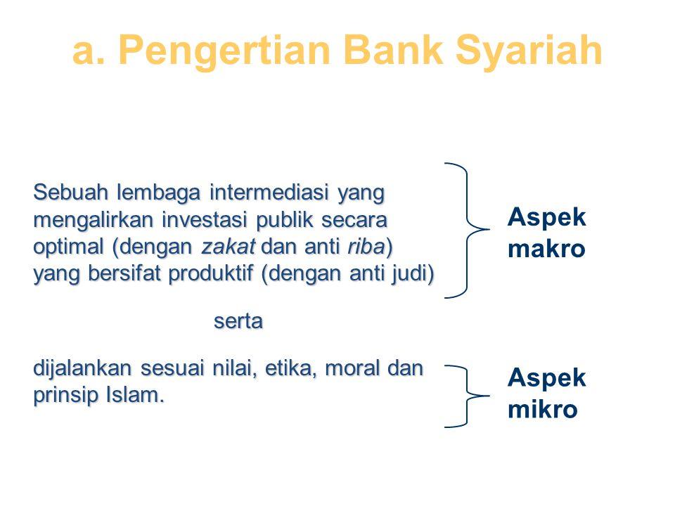 Sebuah lembaga intermediasi yang mengalirkan investasi publik secara optimal (dengan zakat dan anti riba) yang bersifat produktif (dengan anti judi) serta dijalankan sesuai nilai, etika, moral dan prinsip Islam.