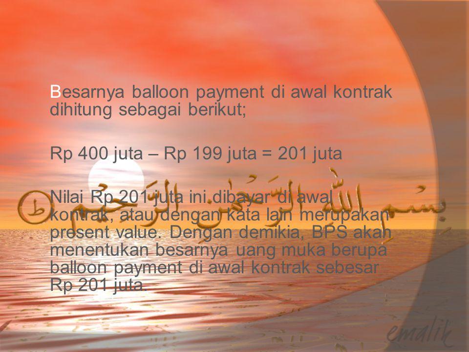 Besarnya balloon payment di awal kontrak dihitung sebagai berikut; Rp 400 juta – Rp 199 juta = 201 juta Nilai Rp 201 juta ini dibayar di awal kontrak,