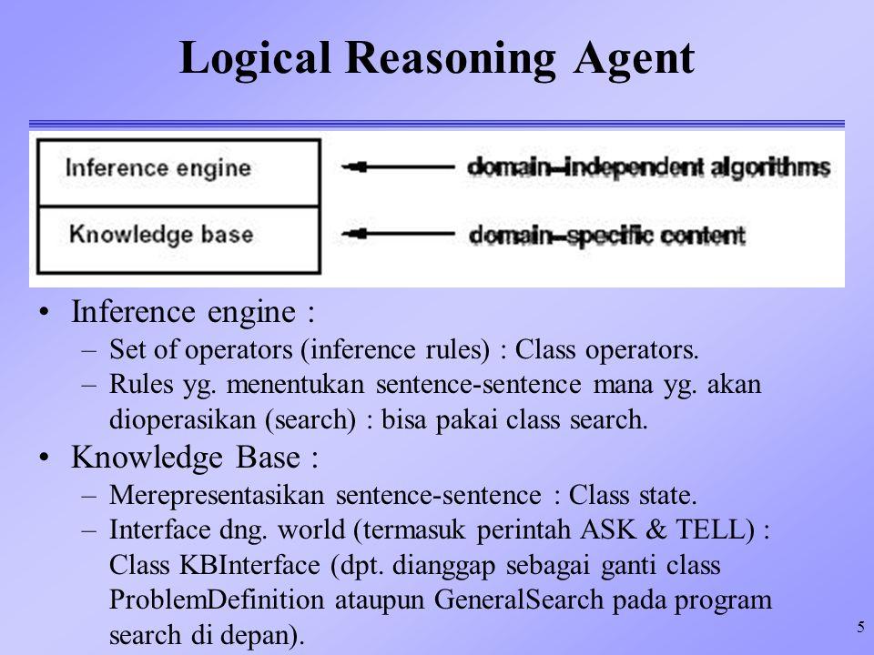 5 Logical Reasoning Agent Inference engine : –Set of operators (inference rules) : Class operators. –Rules yg. menentukan sentence-sentence mana yg. a