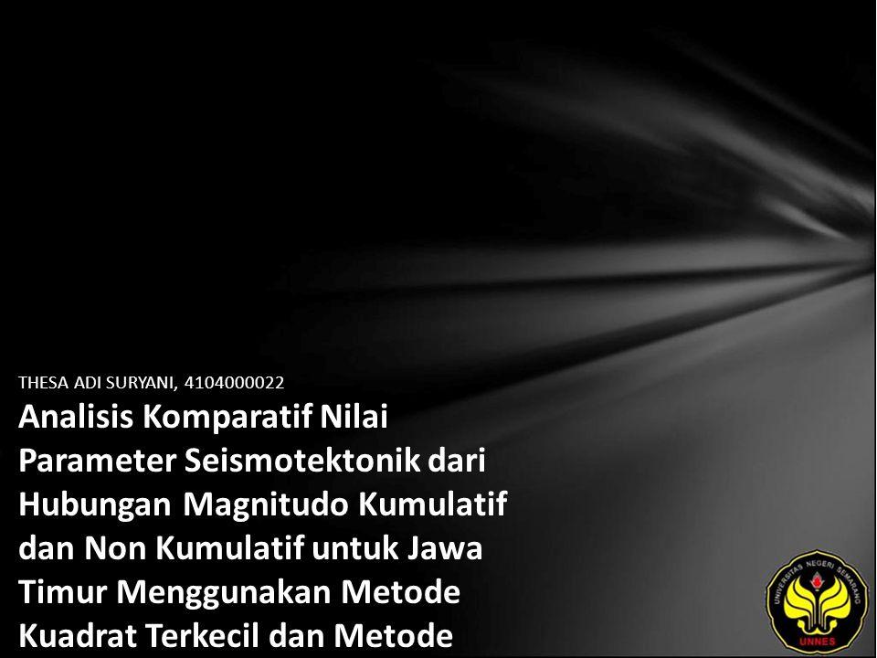 Identitas Mahasiswa - NAMA : THESA ADI SURYANI - NIM : 4104000022 - PRODI : Matematika - JURUSAN : Matematika - FAKULTAS : Matematika dan Ilmu Pengetahuan Alam - EMAIL : thesa0781 pada domain yahoo.com - PEMBIMBING 1 : Prof.