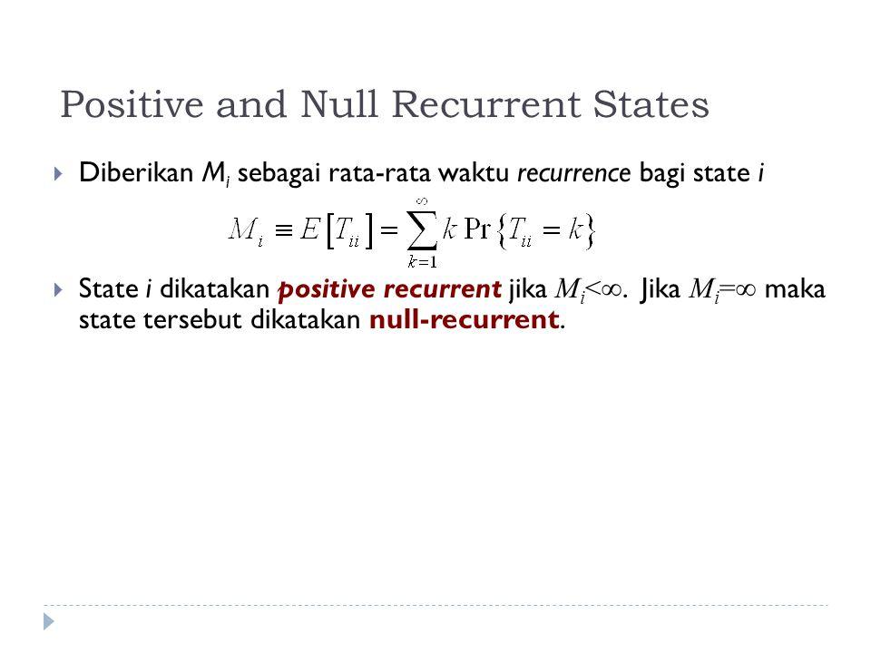 Positive and Null Recurrent States  Diberikan M i sebagai rata-rata waktu recurrence bagi state i  State i dikatakan positive recurrent jika M i <∞.