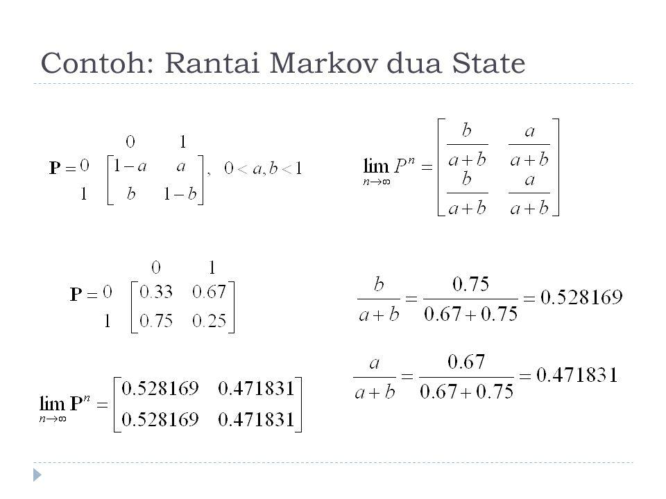 Teorema-teorema  Jika rantai markov mempunyai himpunan state yang finite, maka paling sedikit satu dari state-nya bersifat recurrent.