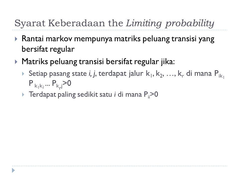 The Limiting Probability Distribution  Jika P matriks peluang transisi yang bersifat regular di mana terdapat 0, 1, 2, …, N, kemungkinan state, maka:  The limiting probability distribution  =(  0,  1,  2, …,  N ) adalah solusi unik dari persamaan:  =  P
