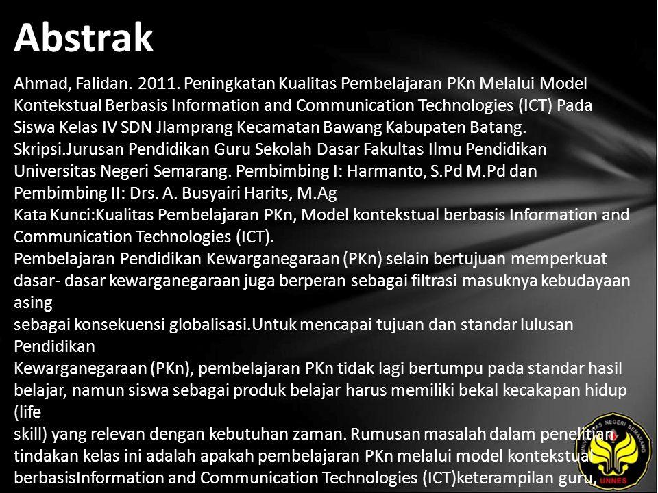Kata Kunci Kualitas Pembelajaran PKn, Model kontekstual berbasis Information and Communication Technologies (ICT).