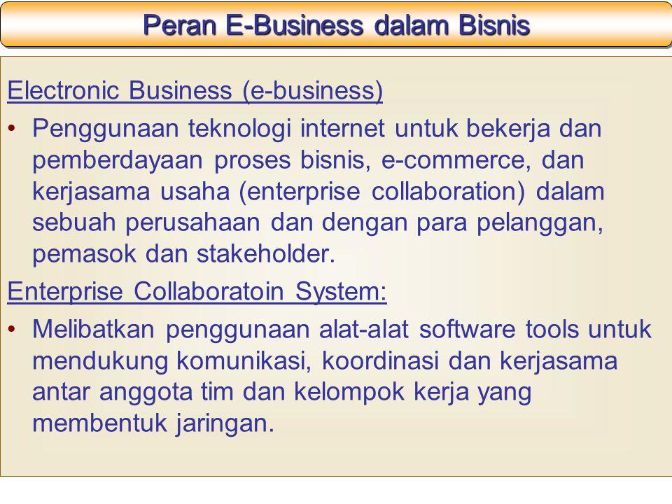 Peran E-Business dalam Bisnis Electronic Business (e-business) Penggunaan teknologi internet untuk bekerja dan pemberdayaan proses bisnis, e-commerce, dan kerjasama usaha (enterprise collaboration) dalam sebuah perusahaan dan dengan para pelanggan, pemasok dan stakeholder.
