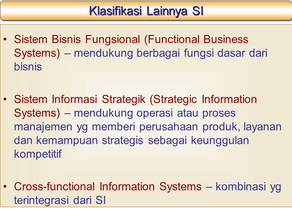 Klasifikasi Lainnya SI Sistem Bisnis Fungsional (Functional Business Systems) – mendukung berbagai fungsi dasar dari bisnis Sistem Informasi Strategik (Strategic Information Systems) – mendukung operasi atau proses manajemen yg memberi perusahaan produk, layanan dan kemampuan strategis sebagai keunggulan kompetitif Cross-functional Information Systems – kombinasi yg terintegrasi dari SI