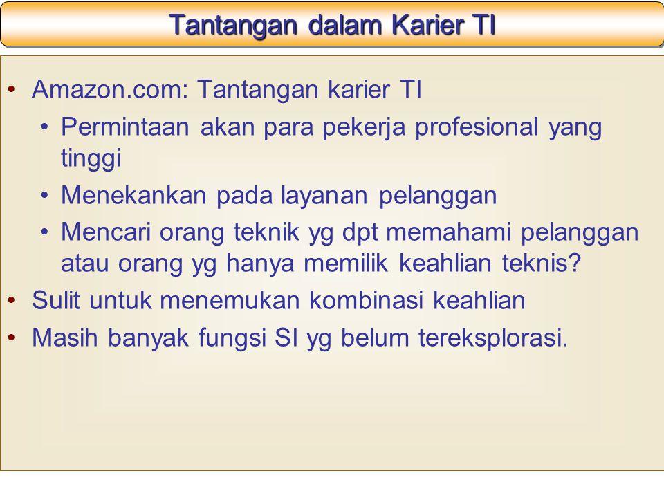 Tantangan dalam Karier TI Amazon.com: Tantangan karier TI Permintaan akan para pekerja profesional yang tinggi Menekankan pada layanan pelanggan Mencari orang teknik yg dpt memahami pelanggan atau orang yg hanya memilik keahlian teknis.