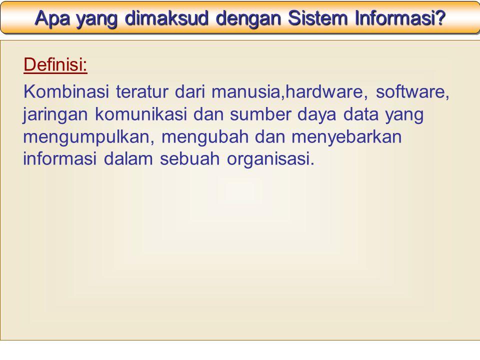 Apa yang dimaksud dengan Sistem Informasi? Definisi: Kombinasi teratur dari manusia,hardware, software, jaringan komunikasi dan sumber daya data yang