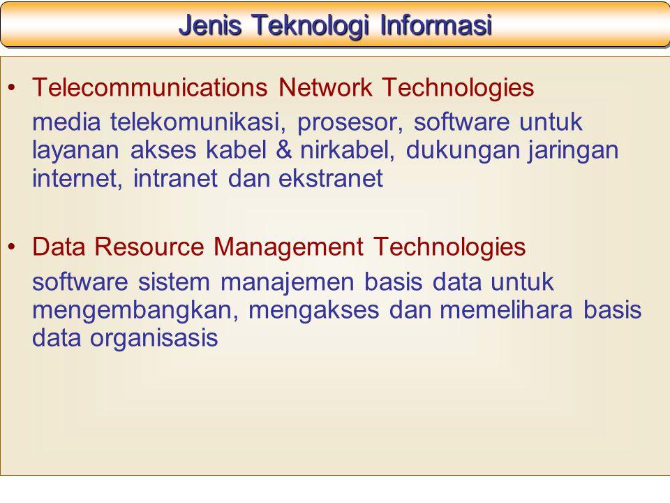 Jenis Teknologi Informasi Telecommunications Network Technologies media telekomunikasi, prosesor, software untuk layanan akses kabel & nirkabel, dukungan jaringan internet, intranet dan ekstranet Data Resource Management Technologies software sistem manajemen basis data untuk mengembangkan, mengakses dan memelihara basis data organisasis