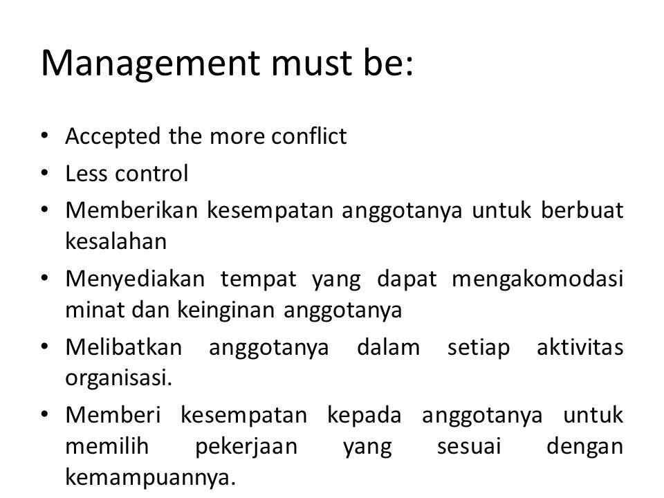 Management must be: Accepted the more conflict Less control Memberikan kesempatan anggotanya untuk berbuat kesalahan Menyediakan tempat yang dapat men