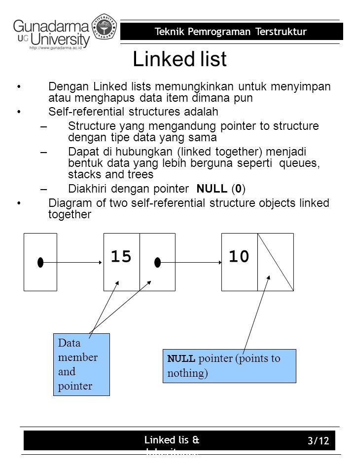 Teknik Pemrograman Terstruktur Linked lis & Inheritance 3/12 Linked list Dengan Linked lists memungkinkan untuk menyimpan atau menghapus data item dimana pun Self-referential structures adalah –Structure yang mengandung pointer to structure dengan tipe data yang sama –Dapat di hubungkan (linked together) menjadi bentuk data yang lebih berguna seperti queues, stacks and trees –Diakhiri dengan pointer NULL (0) Diagram of two self-referential structure objects linked together 1015 NULL pointer (points to nothing) Data member and pointer