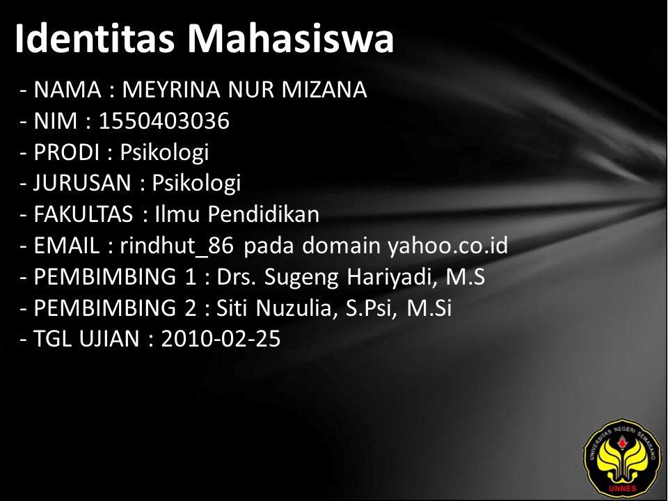 Identitas Mahasiswa - NAMA : MEYRINA NUR MIZANA - NIM : 1550403036 - PRODI : Psikologi - JURUSAN : Psikologi - FAKULTAS : Ilmu Pendidikan - EMAIL : rindhut_86 pada domain yahoo.co.id - PEMBIMBING 1 : Drs.