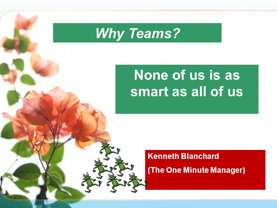 Why Teams? None of us is as smart as all of us Kenneth Blanchard (The One Minute Manager)