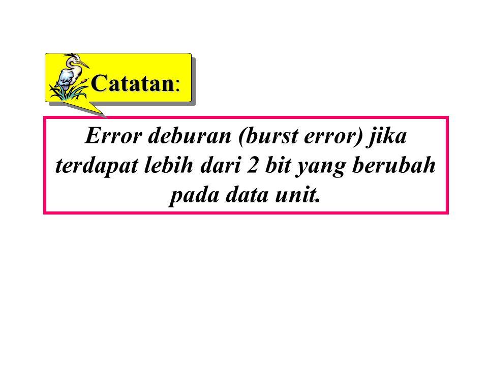 Error deburan (burst error) jika terdapat lebih dari 2 bit yang berubah pada data unit. Catatan: