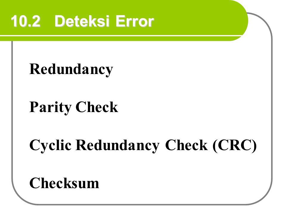 10.2 Deteksi Error Redundancy Parity Check Cyclic Redundancy Check (CRC) Checksum