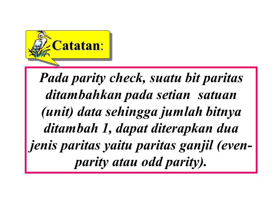 Pada parity check, suatu bit paritas ditambahkan pada setian satuan (unit) data sehingga jumlah bitnya ditambah 1, dapat diterapkan dua jenis paritas