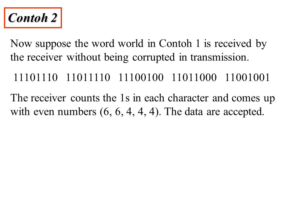 Contoh 2 Now suppose the word world in Contoh 1 is received by the receiver without being corrupted in transmission. 11101110 11011110 11100100 110110