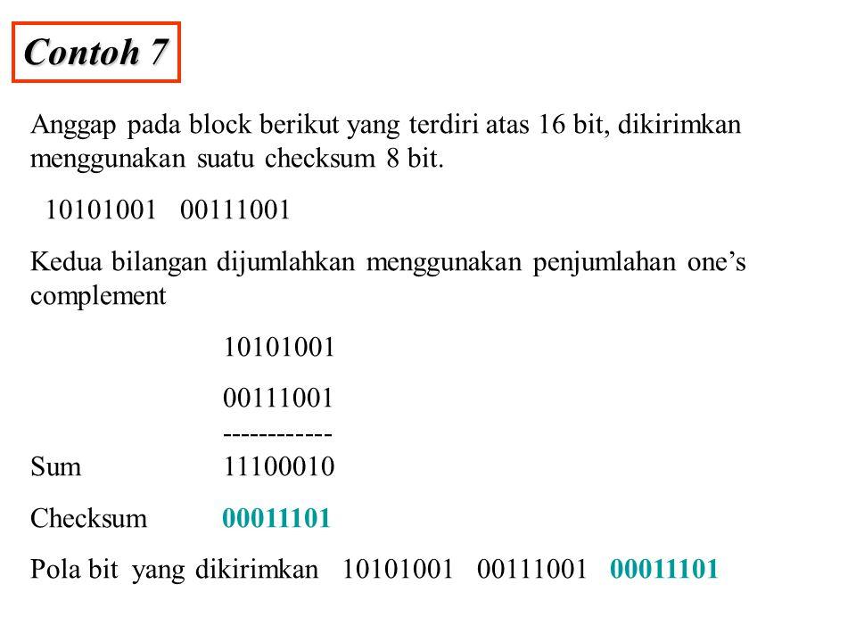 Contoh 7 Anggap pada block berikut yang terdiri atas 16 bit, dikirimkan menggunakan suatu checksum 8 bit.