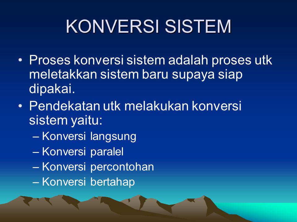 KONVERSI SISTEM Proses konversi sistem adalah proses utk meletakkan sistem baru supaya siap dipakai. Pendekatan utk melakukan konversi sistem yaitu: –