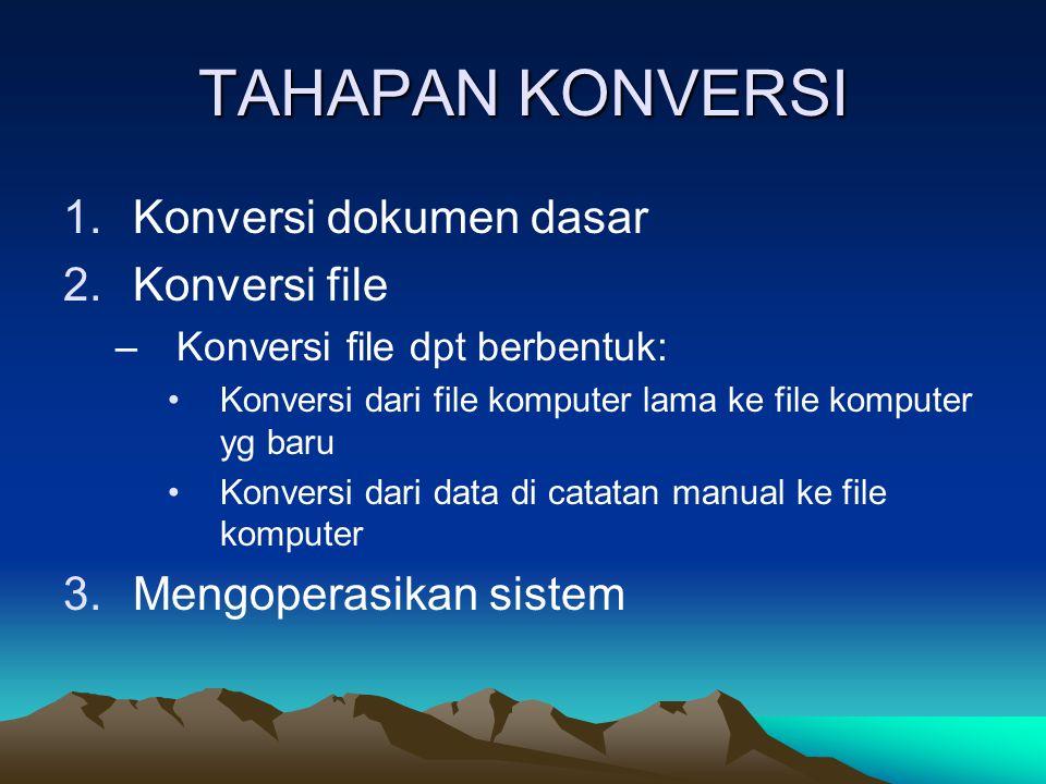 TAHAPAN KONVERSI 1.Konversi dokumen dasar 2.Konversi file –Konversi file dpt berbentuk: Konversi dari file komputer lama ke file komputer yg baru Konv
