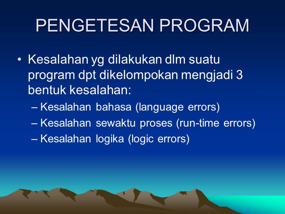 PENGETESAN PROGRAM Kesalahan yg dilakukan dlm suatu program dpt dikelompokan mengjadi 3 bentuk kesalahan: –Kesalahan bahasa (language errors) –Kesalah