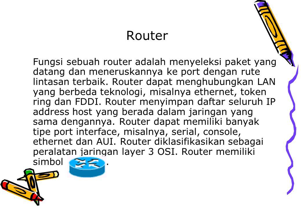 Router Fungsi sebuah router adalah menyeleksi paket yang datang dan meneruskannya ke port dengan rute lintasan terbaik. Router dapat menghubungkan LAN