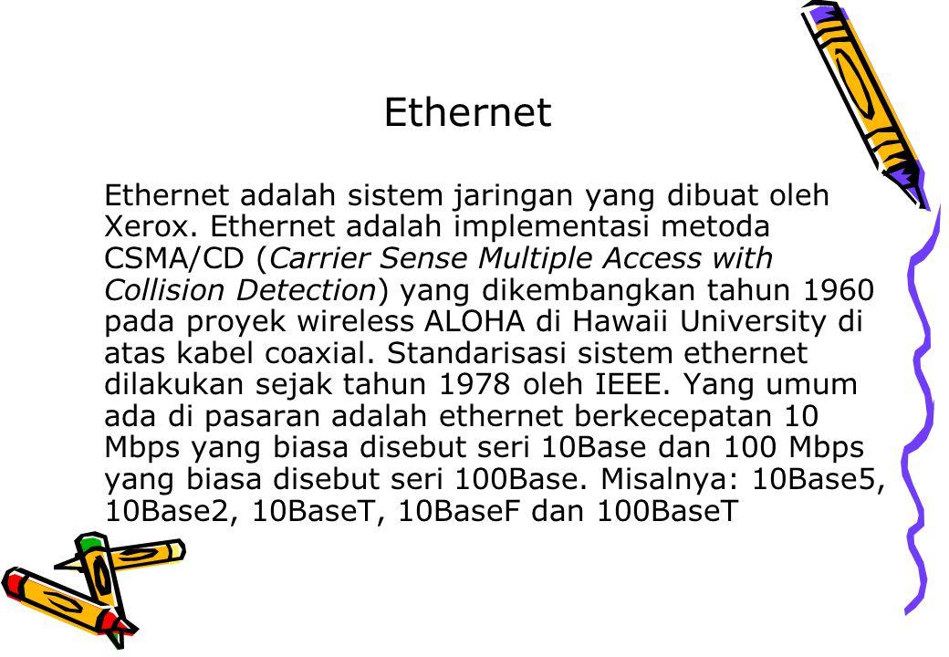 Ethernet Ethernet adalah sistem jaringan yang dibuat oleh Xerox. Ethernet adalah implementasi metoda CSMA/CD (Carrier Sense Multiple Access with Colli