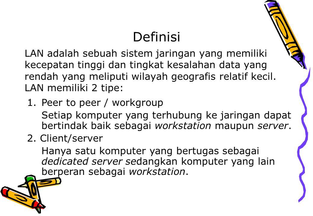 Definisi LAN adalah sebuah sistem jaringan yang memiliki kecepatan tinggi dan tingkat kesalahan data yang rendah yang meliputi wilayah geografis relat