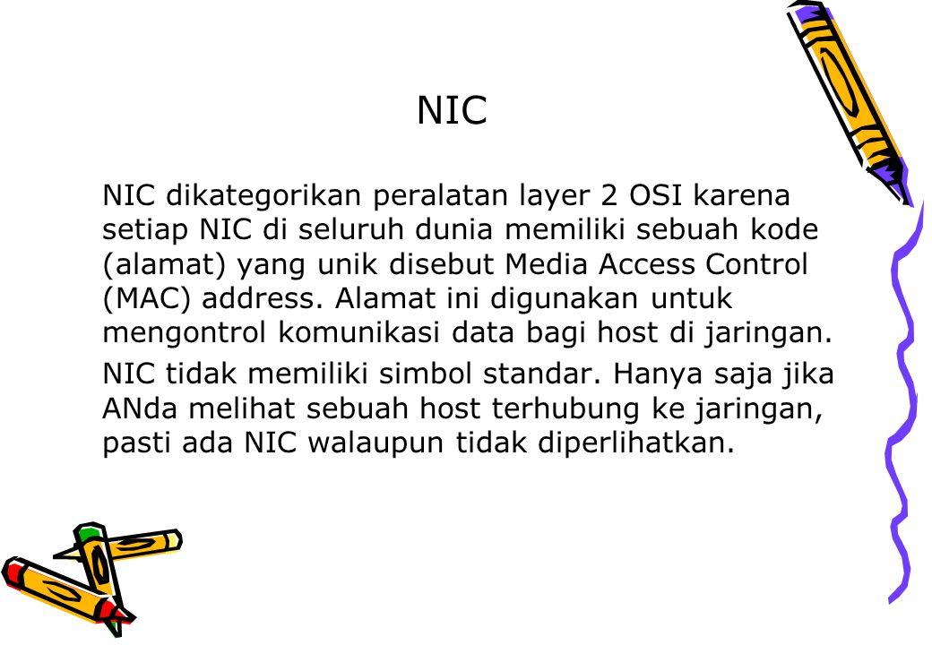 NIC NIC dikategorikan peralatan layer 2 OSI karena setiap NIC di seluruh dunia memiliki sebuah kode (alamat) yang unik disebut Media Access Control (M