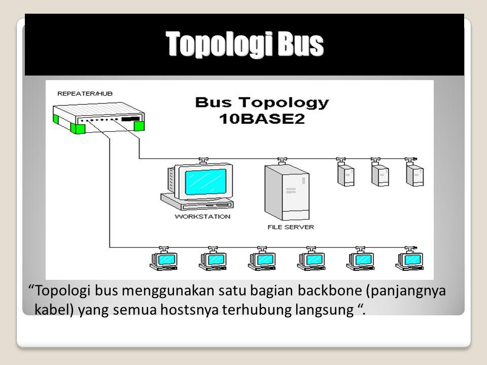 """""""Topologi bus menggunakan satu bagian backbone (panjangnya kabel) yang semua hostsnya terhubung langsung """"."""