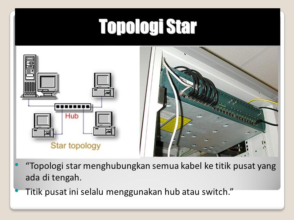 """Topologi star menghubungkan semua kabel ke titik pusat yang ada di tengah. Titik pusat ini selalu menggunakan hub atau switch."""