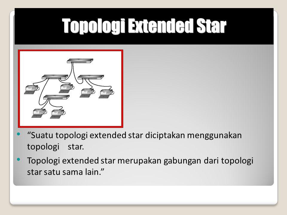 """""""Suatu topologi extended star diciptakan menggunakan topologi star. Topologi extended star merupakan gabungan dari topologi star satu sama lain."""""""