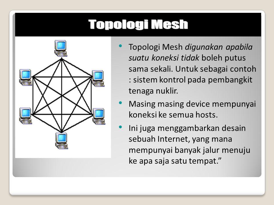 Topologi Mesh digunakan apabila suatu koneksi tidak boleh putus sama sekali. Untuk sebagai contoh : sistem kontrol pada pembangkit tenaga nuklir. Masi