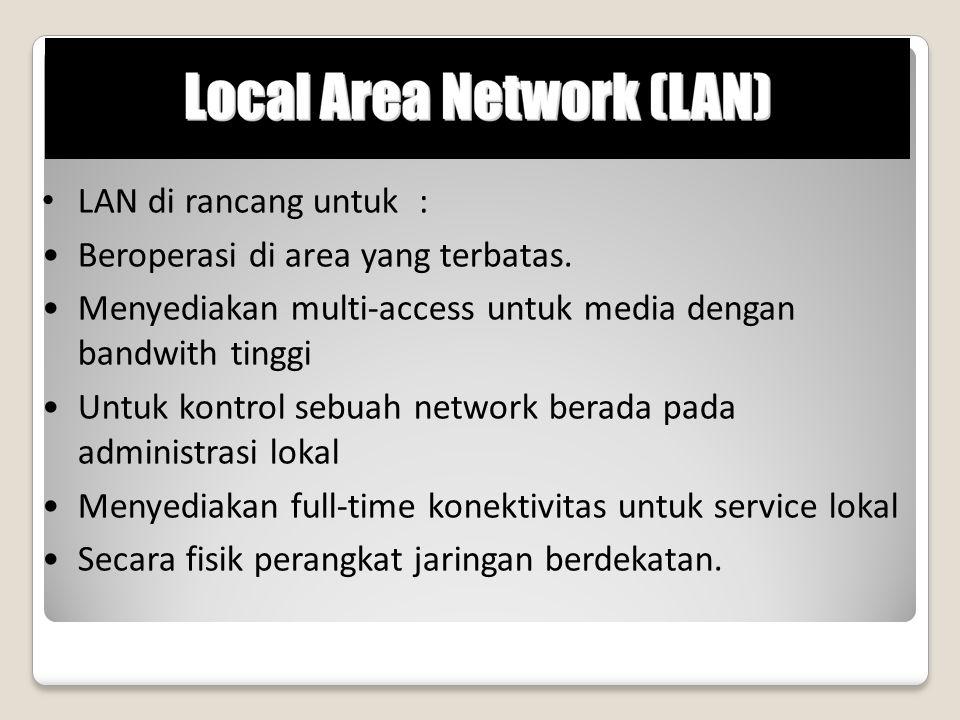 LAN di rancang untuk : Beroperasi di area yang terbatas. Menyediakan multi-access untuk media dengan bandwith tinggi Untuk kontrol sebuah network bera