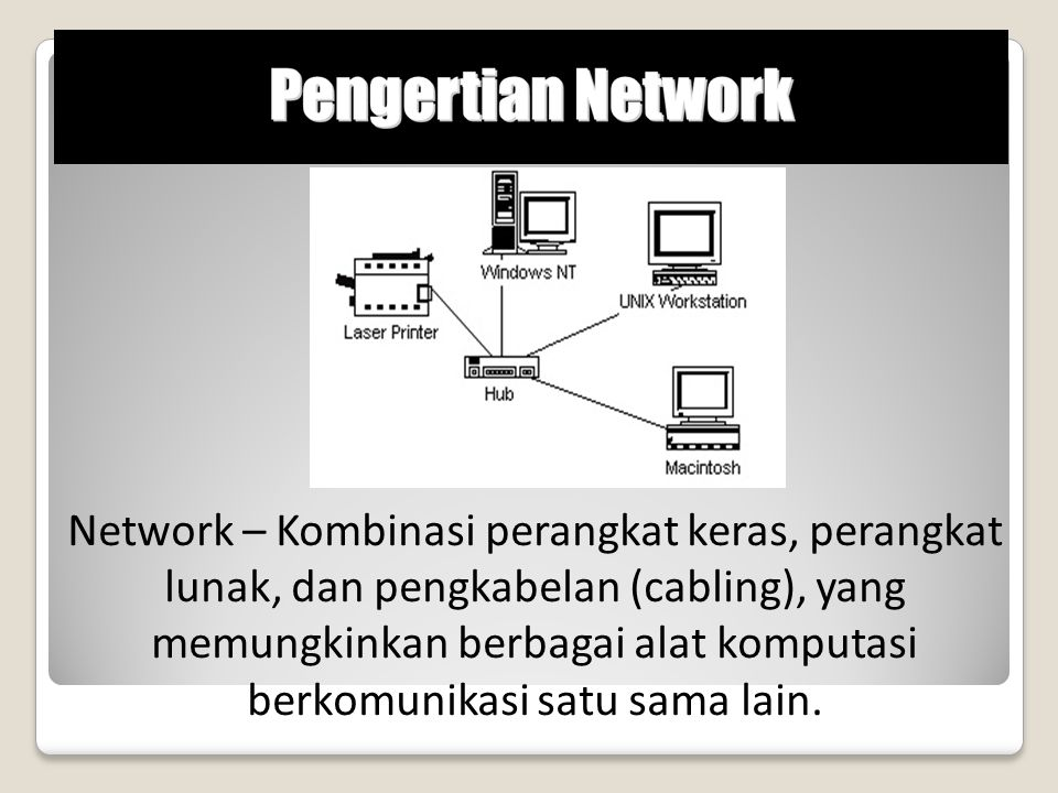 Network – Kombinasi perangkat keras, perangkat lunak, dan pengkabelan (cabling), yang memungkinkan berbagai alat komputasi berkomunikasi satu sama lai