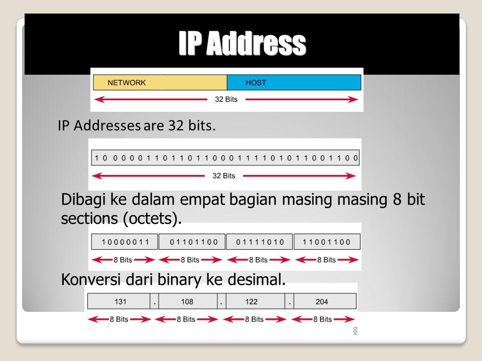 IP Addresses are 32 bits. Dibagi ke dalam empat bagian masing masing 8 bit sections (octets). Konversi dari binary ke desimal.