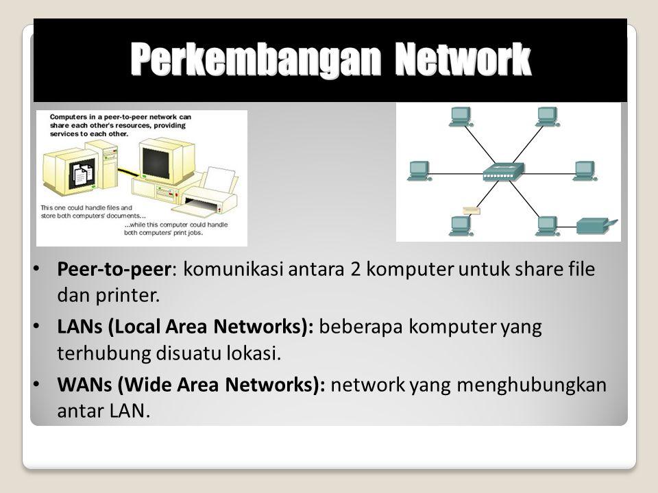 Peer-to-peer: komunikasi antara 2 komputer untuk share file dan printer. LANs (Local Area Networks): beberapa komputer yang terhubung disuatu lokasi.