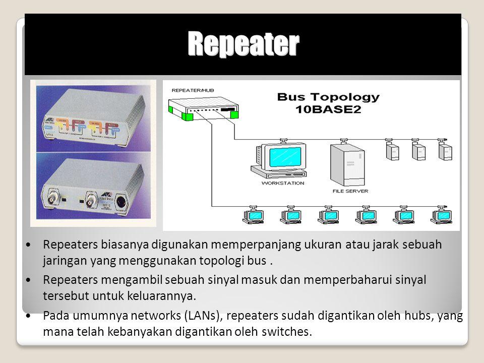 Repeaters biasanya digunakan memperpanjang ukuran atau jarak sebuah jaringan yang menggunakan topologi bus. Repeaters mengambil sebuah sinyal masuk da